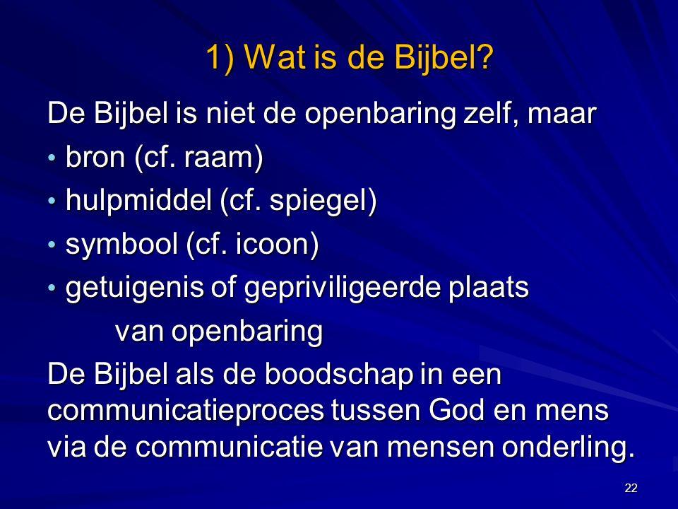 De Bijbel is niet de openbaring zelf, maar bron (cf.