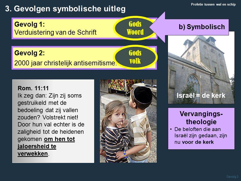 Israël = de kerk Profetie tussen wal en schip Gevolg 3 Gevolg 1: Verduistering van de Schrift 3.