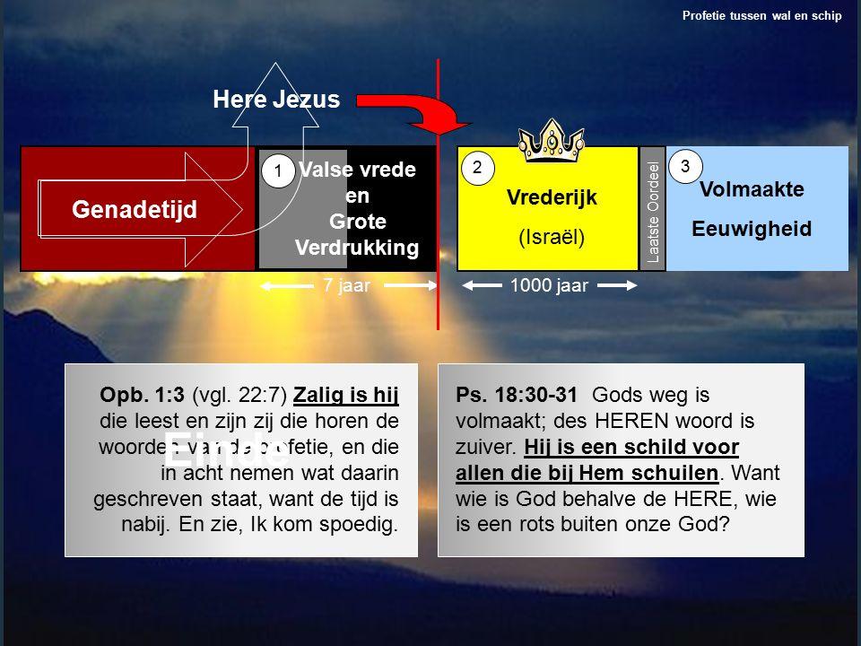 Laatste Oordeel Vrederijk (Israël) 1000 jaar Valse vrede en Grote Verdrukking Volmaakte Eeuwigheid 7 jaar 1 2 3 Profetie tussen wal en schip Genadetijd Here Jezus Opb.