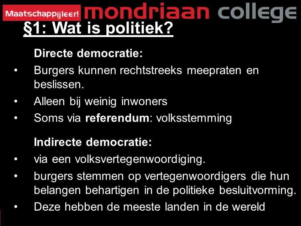 §1: Wat is politiek. Directe democratie: Burgers kunnen rechtstreeks meepraten en beslissen.