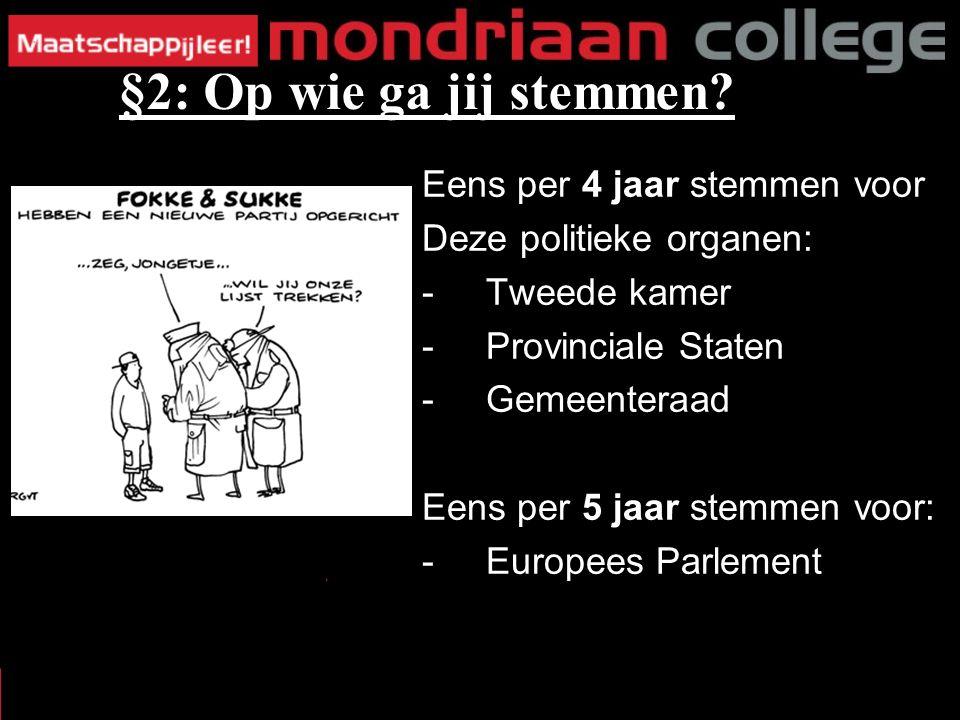 Eens per 4 jaar stemmen voor Deze politieke organen: -Tweede kamer -Provinciale Staten -Gemeenteraad Eens per 5 jaar stemmen voor: -Europees Parlement