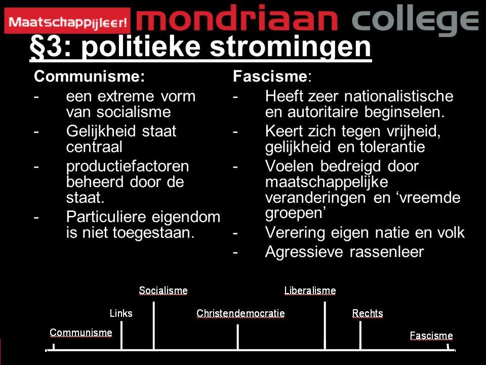 Fascisme: -Heeft zeer nationalistische en autoritaire beginselen.