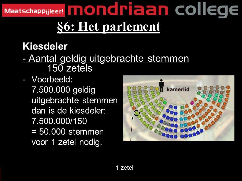 Kiesdeler - Aantal geldig uitgebrachte stemmen 150 zetels -Voorbeeld: 7.500.000 geldig uitgebrachte stemmen dan is de kiesdeler: 7.500.000/150 = 50.000 stemmen voor 1 zetel nodig.