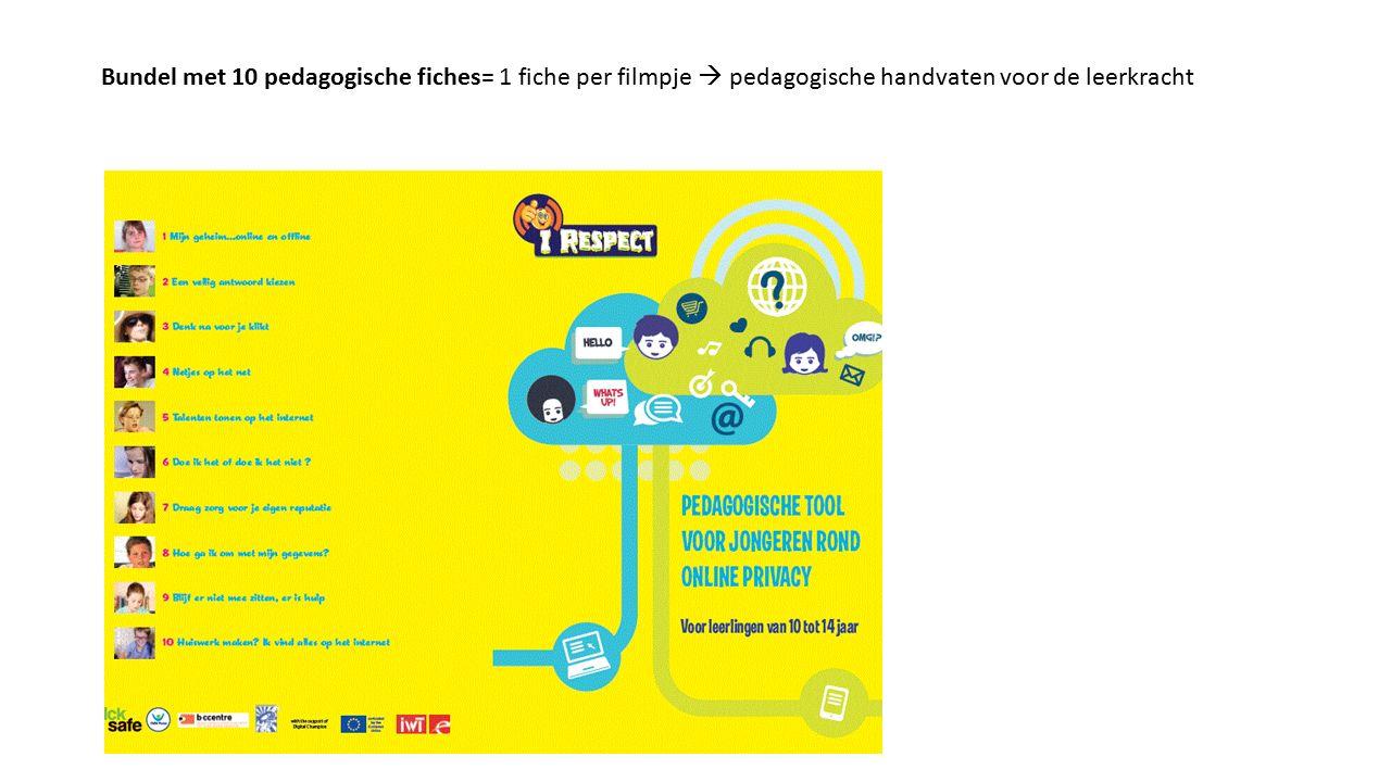 Bundel met 10 pedagogische fiches= 1 fiche per filmpje  pedagogische handvaten voor de leerkracht