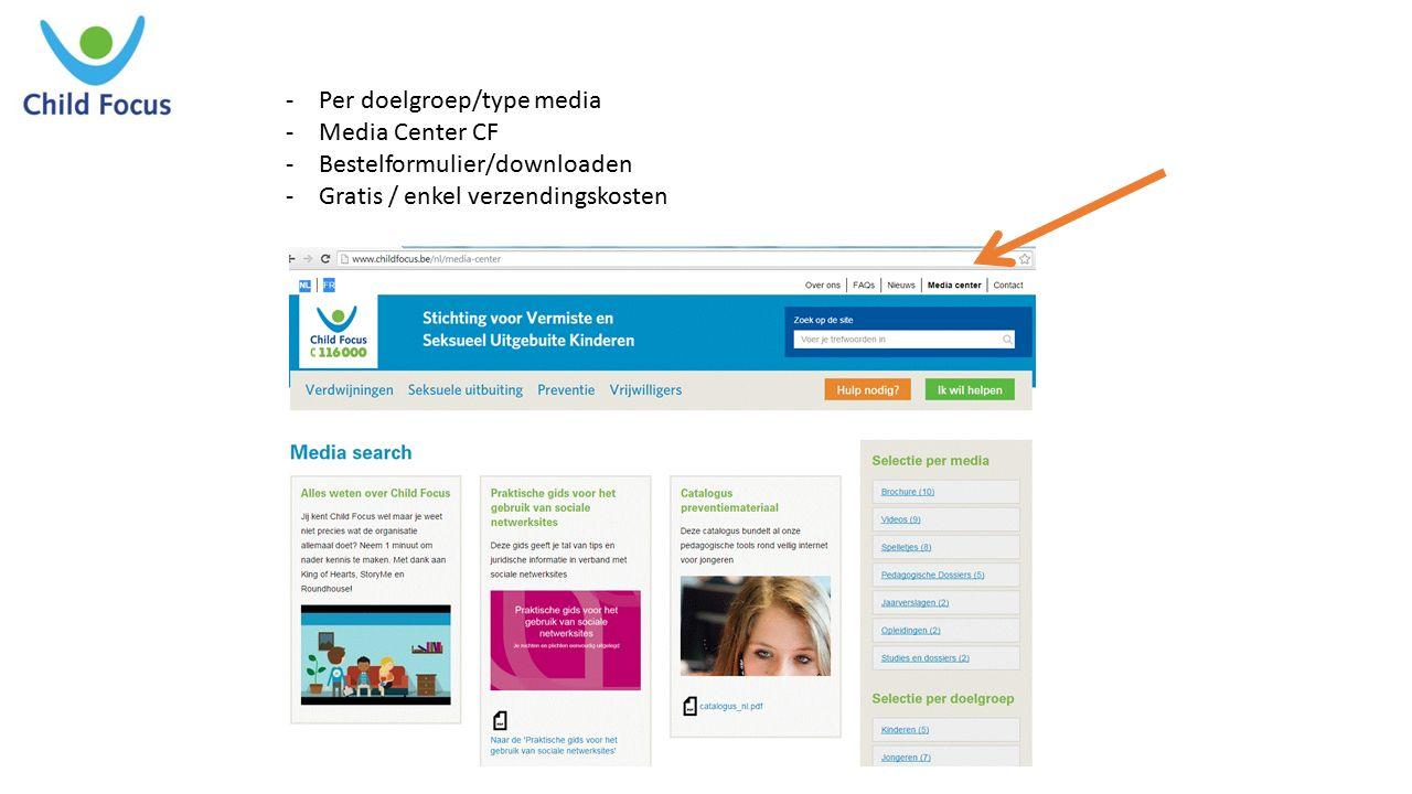 -Per doelgroep/type media -Media Center CF -Bestelformulier/downloaden -Gratis / enkel verzendingskosten