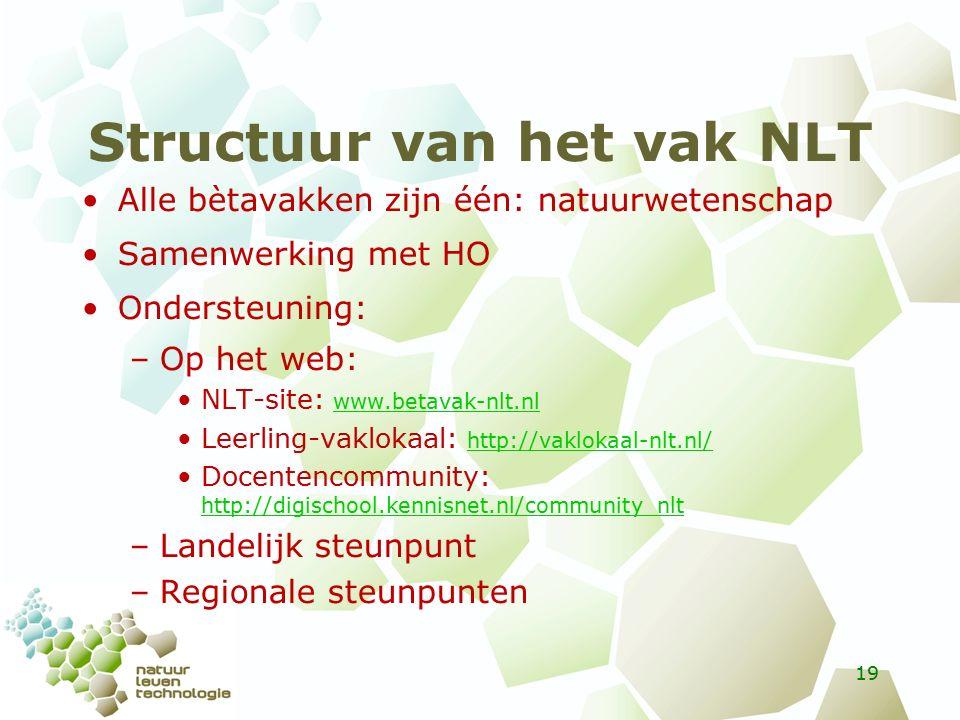 Structuur van het vak NLT Alle bètavakken zijn één: natuurwetenschap Samenwerking met HO Ondersteuning: –Op het web: NLT-site: www.betavak-nlt.nl www.betavak-nlt.nl Leerling-vaklokaal: http://vaklokaal-nlt.nl/ http://vaklokaal-nlt.nl/ Docentencommunity: http://digischool.kennisnet.nl/community_nlt http://digischool.kennisnet.nl/community_nlt –Landelijk steunpunt –Regionale steunpunten 19