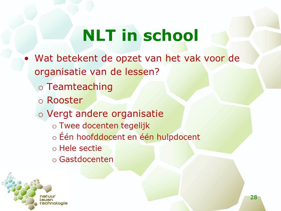 NLT in school Wat betekent de opzet van het vak voor de organisatie van de lessen.
