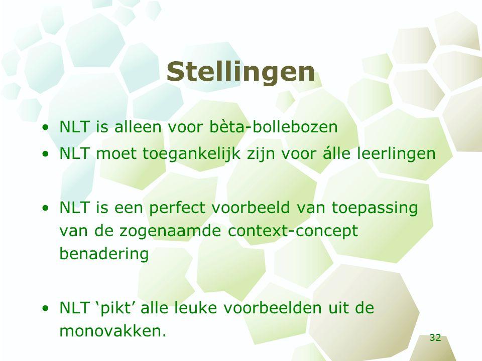 Stellingen NLT is alleen voor bèta-bollebozen NLT moet toegankelijk zijn voor álle leerlingen NLT is een perfect voorbeeld van toepassing van de zogenaamde context-concept benadering NLT 'pikt' alle leuke voorbeelden uit de monovakken.
