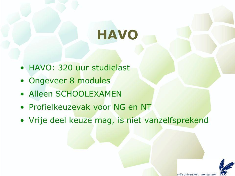 HAVO HAVO: 320 uur studielast Ongeveer 8 modules Alleen SCHOOLEXAMEN Profielkeuzevak voor NG en NT Vrije deel keuze mag, is niet vanzelfsprekend