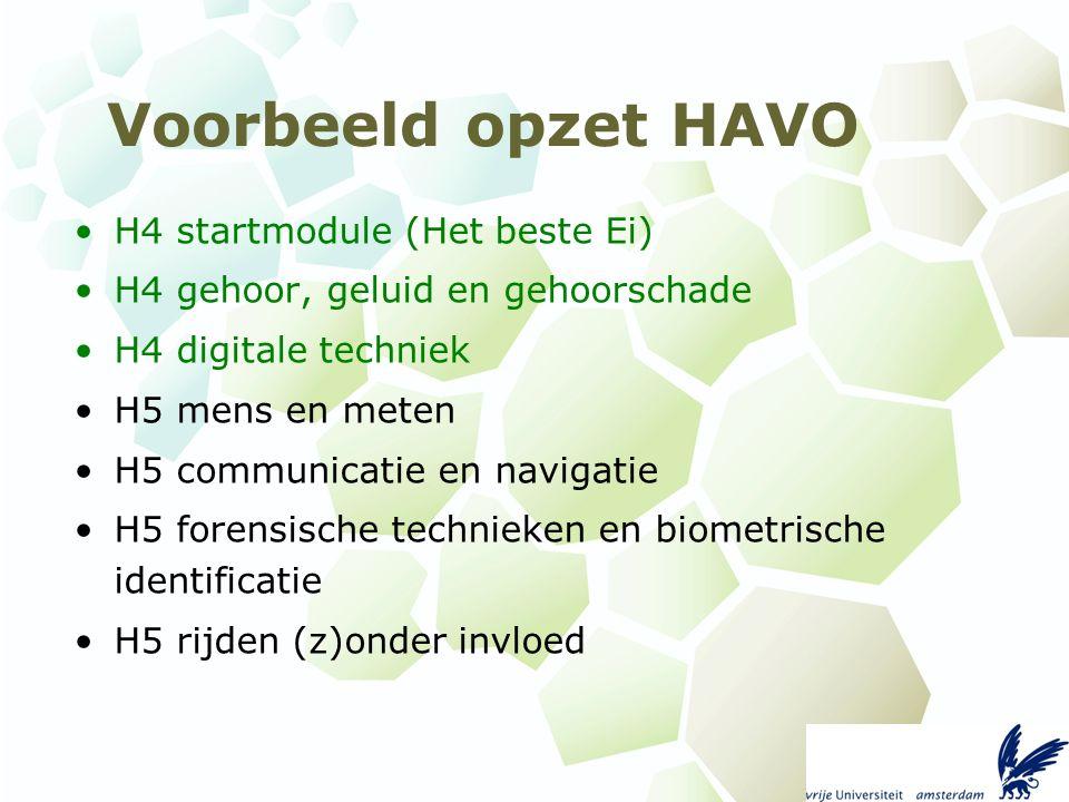 Voorbeeld opzet HAVO H4 startmodule (Het beste Ei) H4 gehoor, geluid en gehoorschade H4 digitale techniek H5 mens en meten H5 communicatie en navigatie H5 forensische technieken en biometrische identificatie H5 rijden (z)onder invloed
