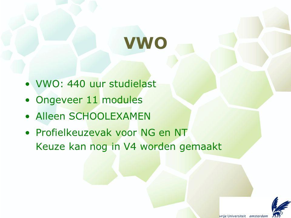 VWO VWO: 440 uur studielast Ongeveer 11 modules Alleen SCHOOLEXAMEN Profielkeuzevak voor NG en NT Keuze kan nog in V4 worden gemaakt
