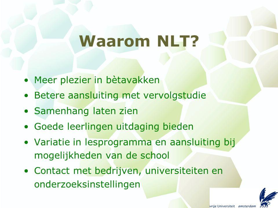Opbouw van NLT Modules over interessante onderwerpen die met natuur (wetenschap), leven en techniek te maken hebben.