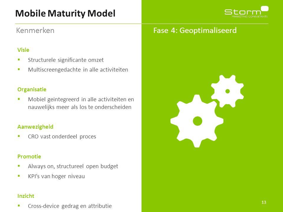 13 Mobile Maturity Model Fase 4: Geoptimaliseerd Kenmerken Visie  Structurele significante omzet  Multiscreengedachte in alle activiteiten Organisat