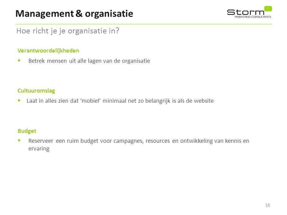 16 Management & organisatie Hoe richt je je organisatie in? Verantwoordelijkheden  Betrek mensen uit alle lagen van de organisatie Cultuuromslag  La