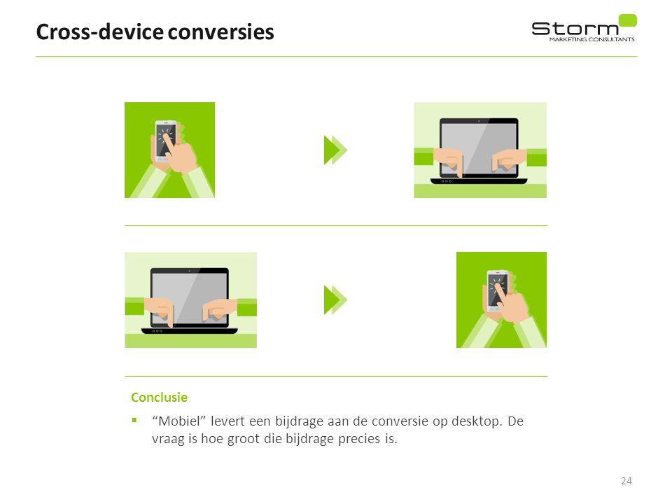 """24 Cross-device conversies Conclusie  """"Mobiel"""" levert een bijdrage aan de conversie op desktop. De vraag is hoe groot die bijdrage precies is."""