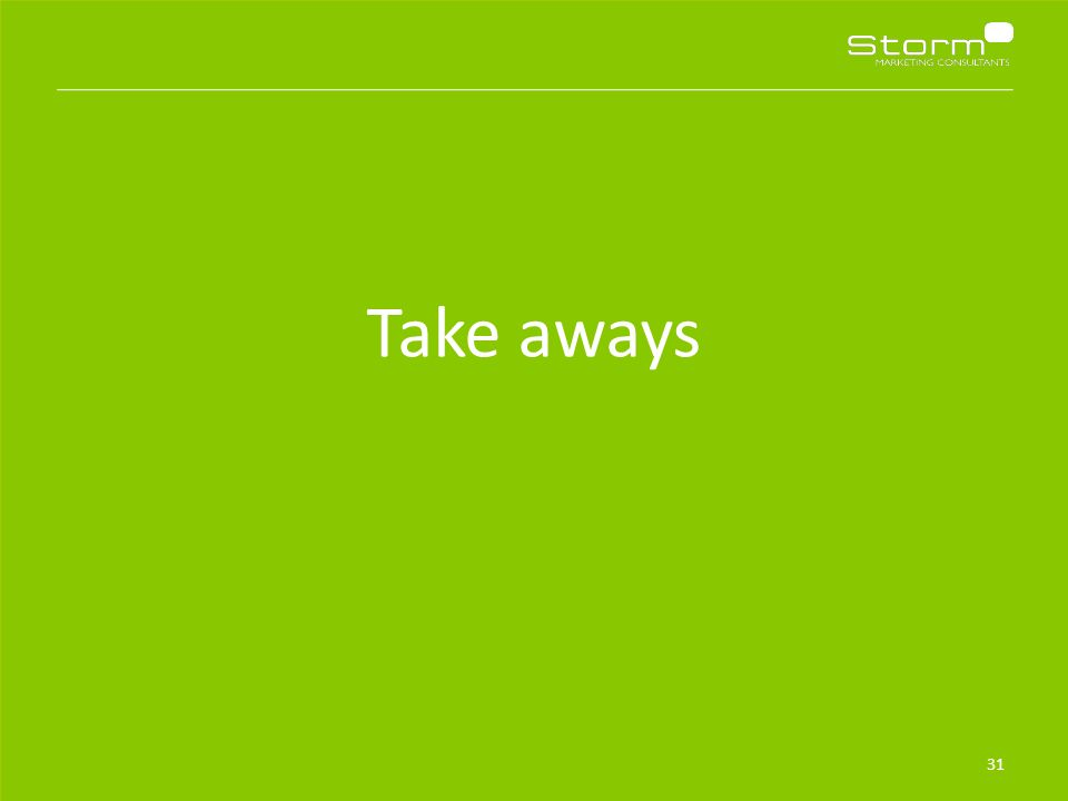32 Take-aways Zorg dat je niet de nieuwe Neckermann, OAD, Free Record Shop of Marlies Dekkers wordt: Begin vandaag met investeren in mobiel Maak 'mobiel' in alle lagen van de organisatie belangijk Investeer in een goede mobiele site en/of app en ga structureel aan de slag met mobiele usability- en conversieoptimalisatie Investeer in mobiele campagnes, ook als het rendement (op last click op dat device) tegen lijkt te vallen