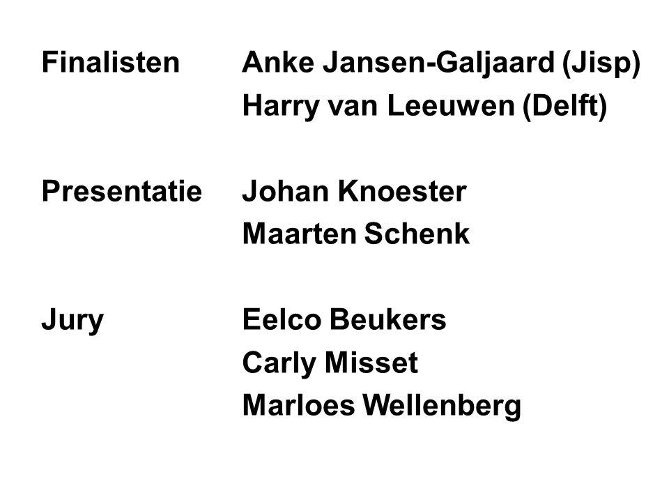 FinalistenAnke Jansen-Galjaard (Jisp) Harry van Leeuwen (Delft) Presentatie Johan Knoester Maarten Schenk JuryEelco Beukers Carly Misset Marloes Wellenberg