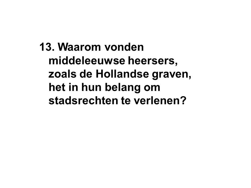 13. Waarom vonden middeleeuwse heersers, zoals de Hollandse graven, het in hun belang om stadsrechten te verlenen?