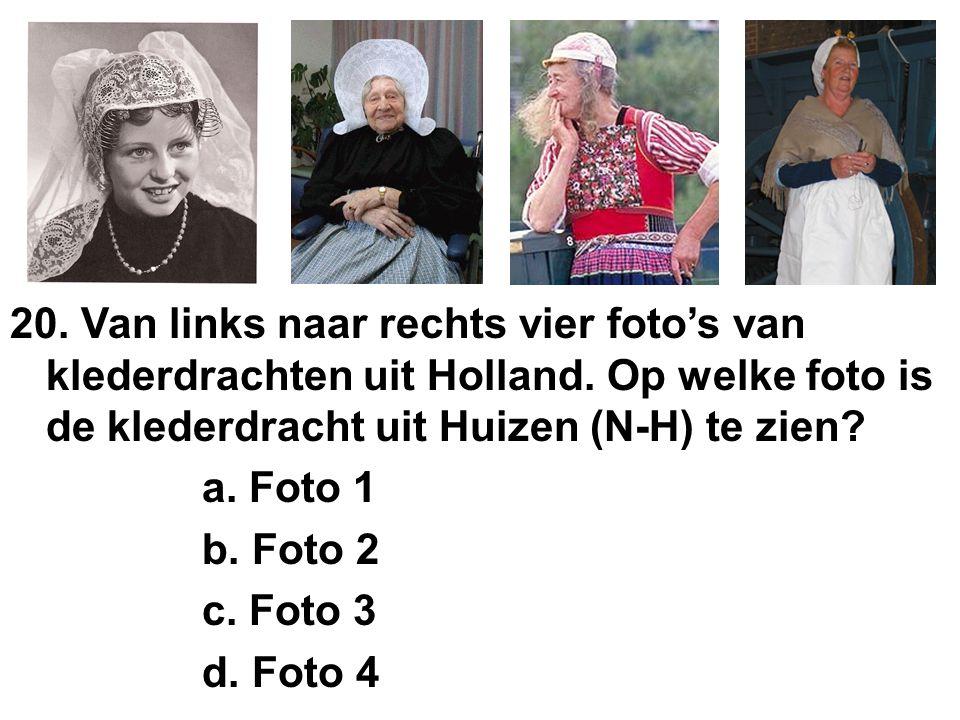 20. Van links naar rechts vier foto's van klederdrachten uit Holland.