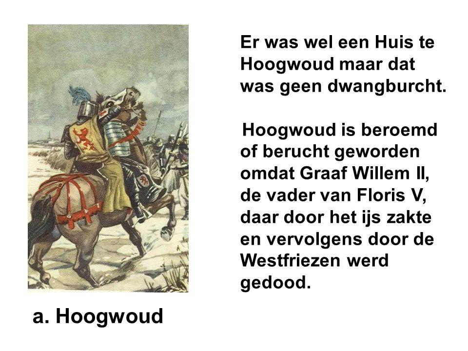 Er was wel een Huis te Hoogwoud maar dat was geen dwangburcht.