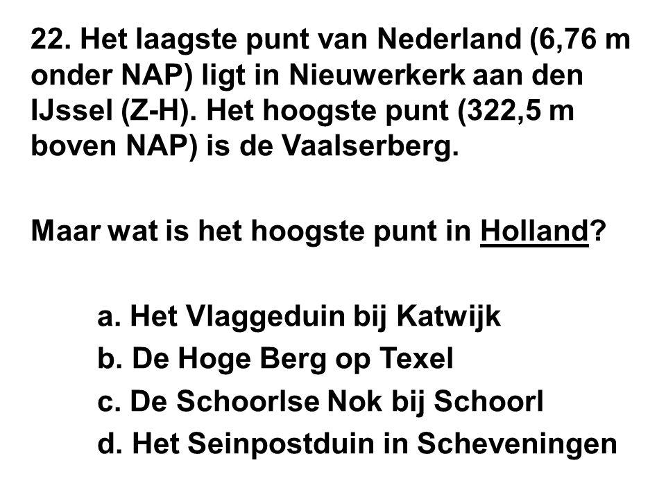 22. Het laagste punt van Nederland (6,76 m onder NAP) ligt in Nieuwerkerk aan den IJssel (Z-H).