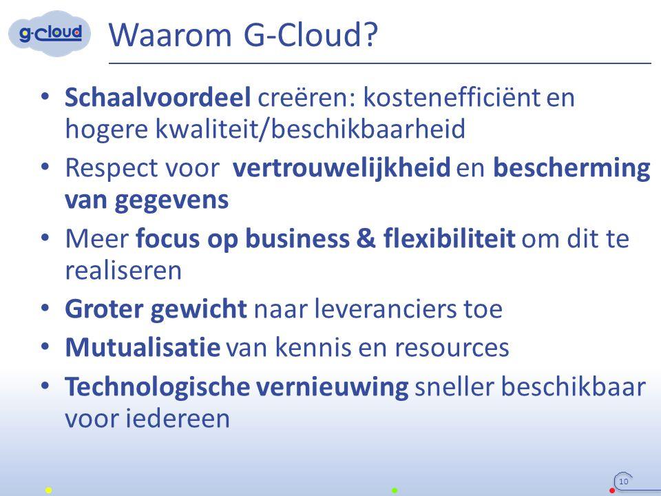 Waarom G-Cloud? Schaalvoordeel creëren: kostenefficiënt en hogere kwaliteit/beschikbaarheid Respect voor vertrouwelijkheid en bescherming van gegevens
