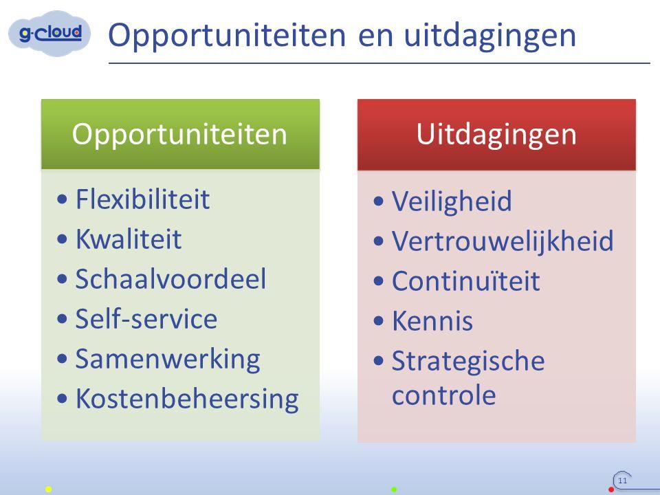 Opportuniteiten en uitdagingen 11 Uitdagingen Veiligheid Vertrouwelijkheid Continuïteit Kennis Strategische controle Opportuniteiten Flexibiliteit Kwa