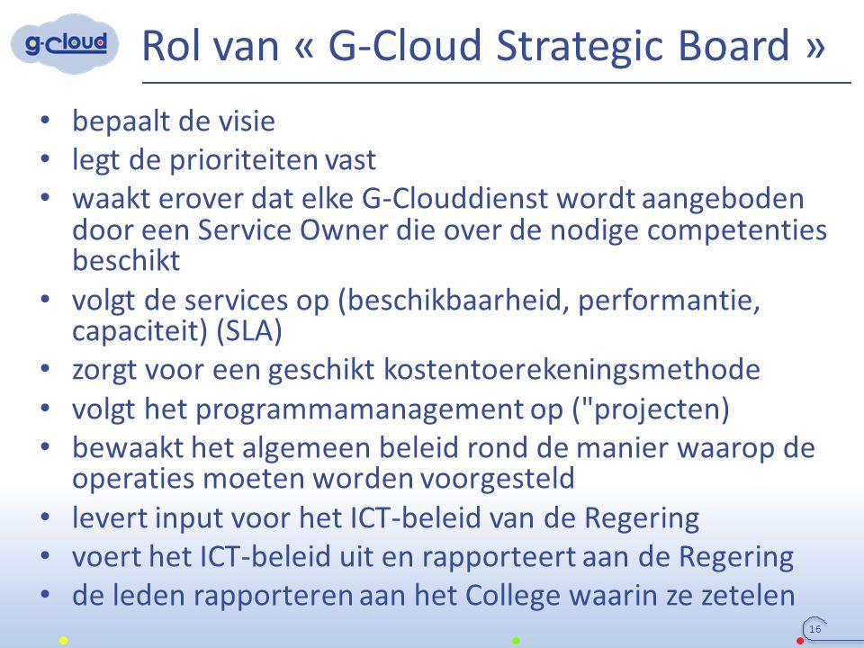 Rol van « G-Cloud Strategic Board » bepaalt de visie legt de prioriteiten vast waakt erover dat elke G-Clouddienst wordt aangeboden door een Service O