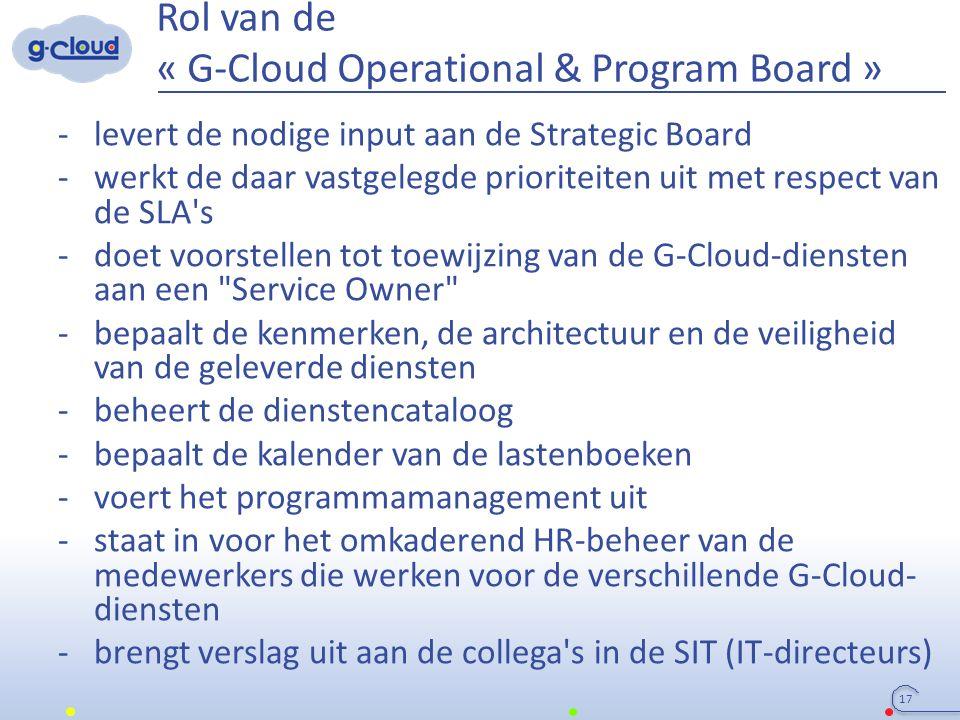 Rol van de « G-Cloud Operational & Program Board » -levert de nodige input aan de Strategic Board -werkt de daar vastgelegde prioriteiten uit met resp