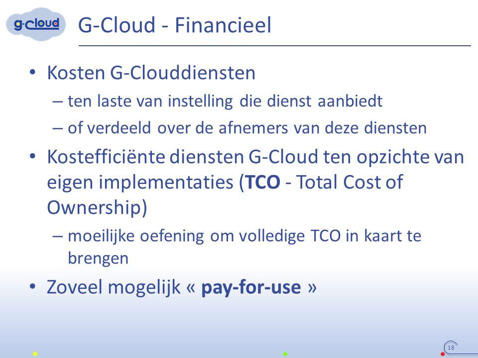 G-Cloud - Financieel Kosten G-Clouddiensten – ten laste van instelling die dienst aanbiedt – of verdeeld over de afnemers van deze diensten Kosteffici