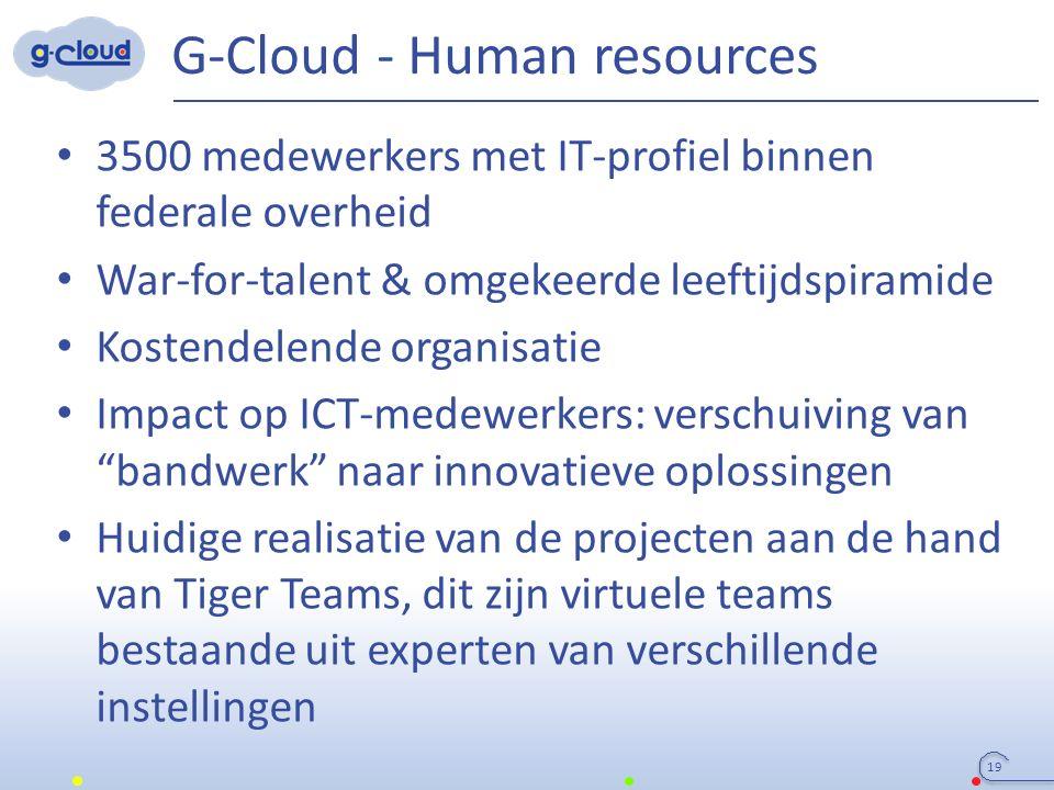 G-Cloud - Human resources 19 3500 medewerkers met IT-profiel binnen federale overheid War-for-talent & omgekeerde leeftijdspiramide Kostendelende orga