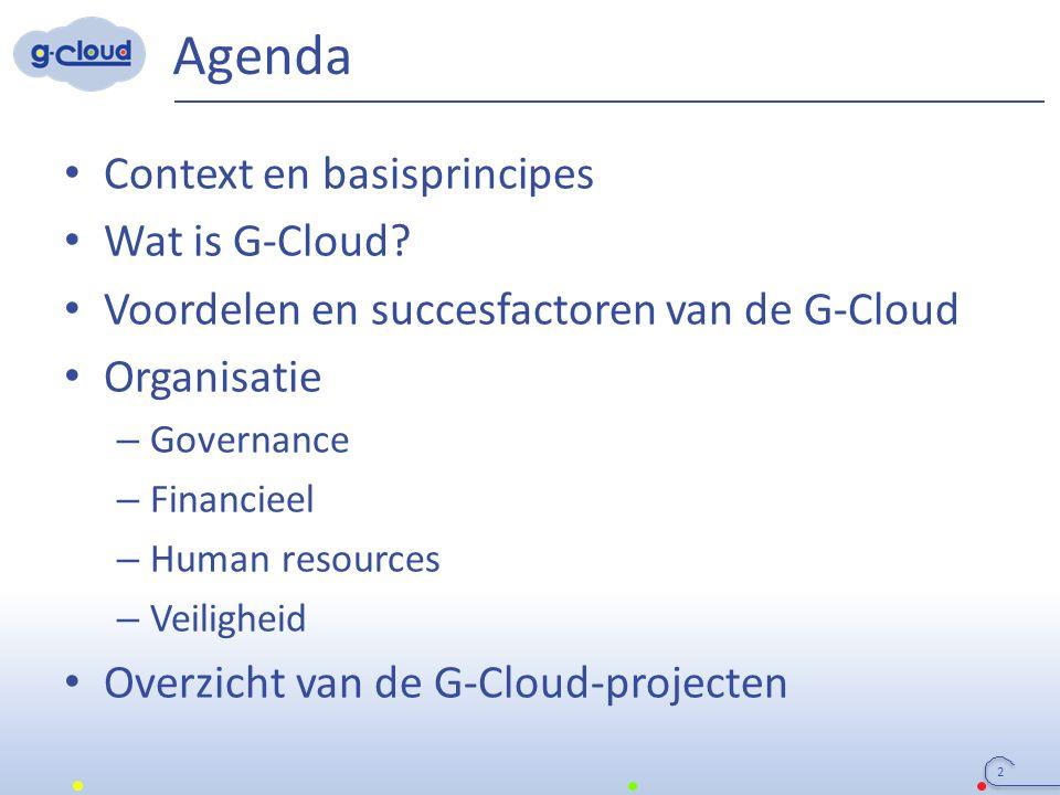 Agenda Context en basisprincipes Wat is G-Cloud? Voordelen en succesfactoren van de G-Cloud Organisatie – Governance – Financieel – Human resources –