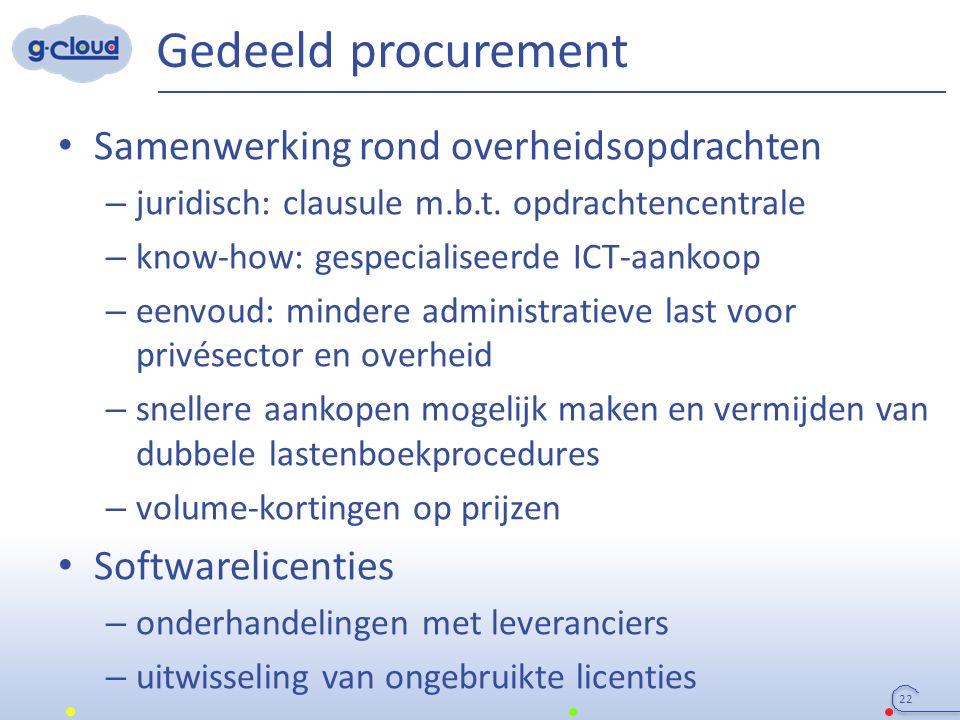 Gedeeld procurement Samenwerking rond overheidsopdrachten – juridisch: clausule m.b.t. opdrachtencentrale – know-how: gespecialiseerde ICT-aankoop – e