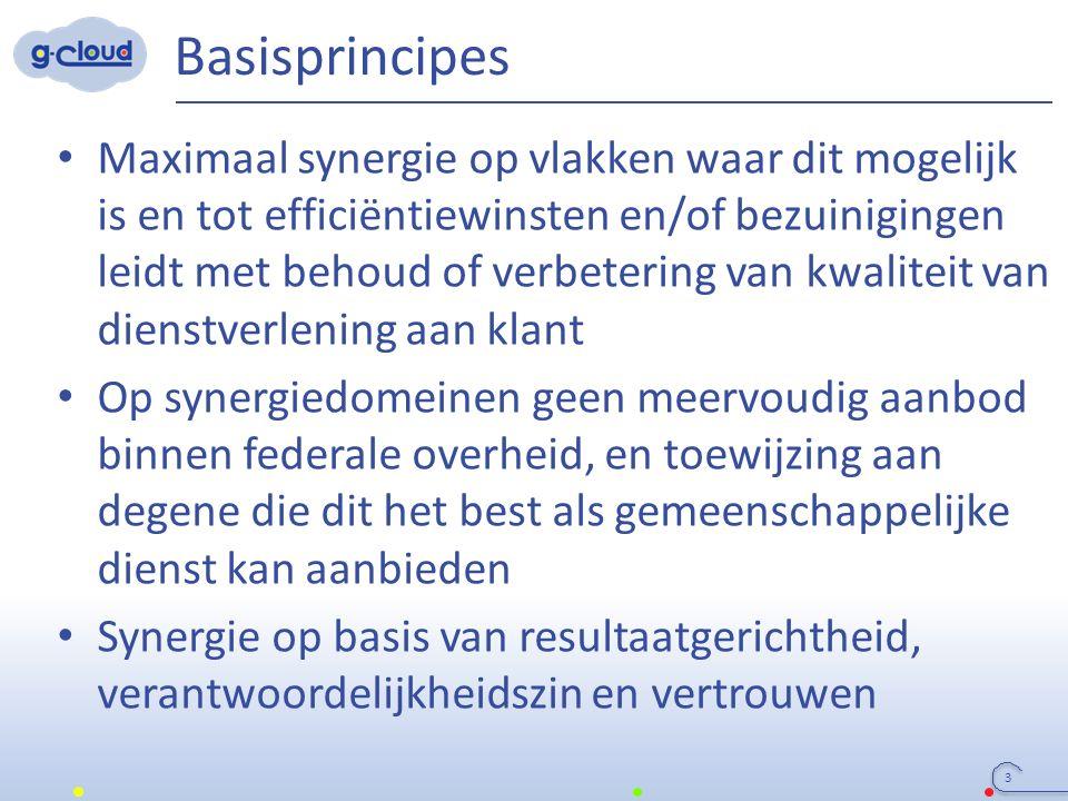 Basisprincipes 3 Maximaal synergie op vlakken waar dit mogelijk is en tot efficiëntiewinsten en/of bezuinigingen leidt met behoud of verbetering van k