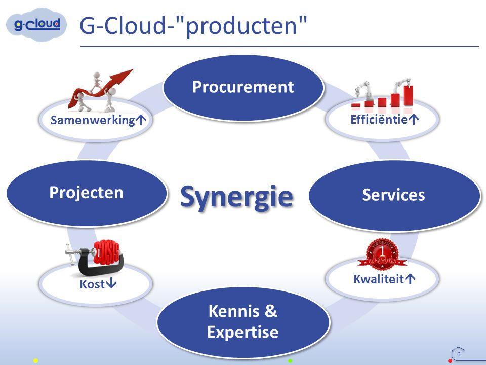 Synergie G-Cloud- producten 6 Procurement Services Projecten Kennis & Expertise Samenwerking  Efficiëntie  Kwaliteit  Kost 