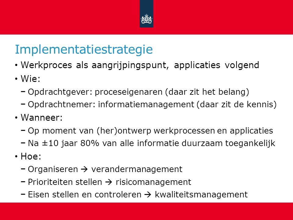 Implementatiestrategie Werkproces als aangrijpingspunt, applicaties volgend Wie: Opdrachtgever: proceseigenaren (daar zit het belang) Opdrachtnemer: i