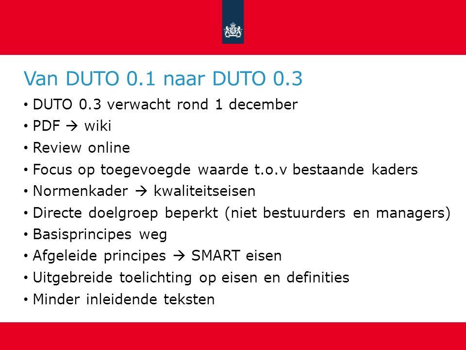 Van DUTO 0.1 naar DUTO 0.3 DUTO 0.3 verwacht rond 1 december PDF  wiki Review online Focus op toegevoegde waarde t.o.v bestaande kaders Normenkader 