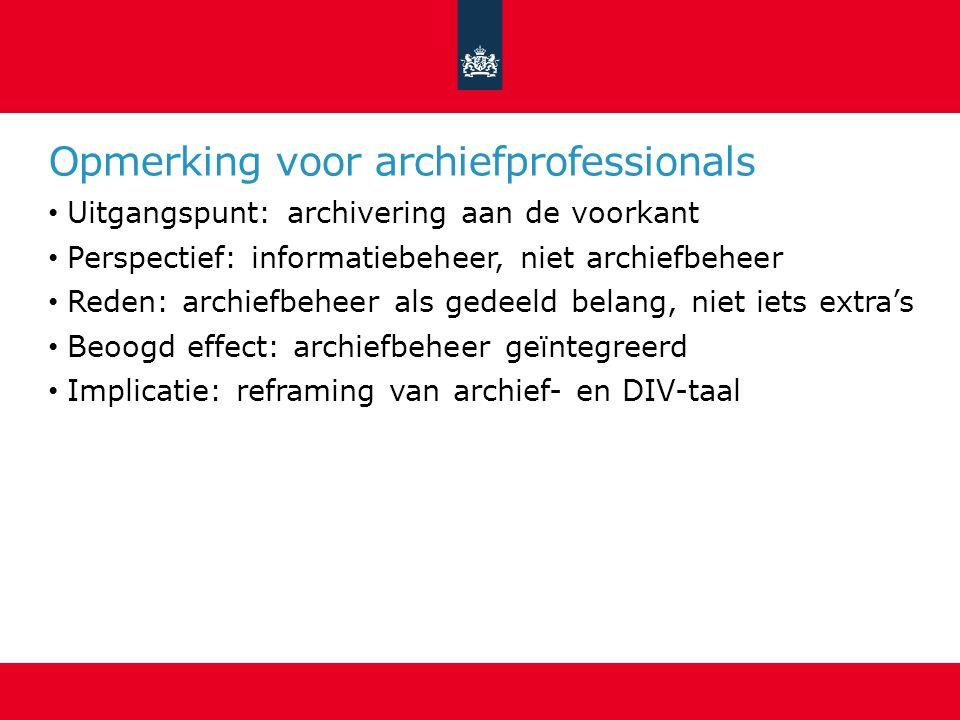 Opmerking voor archiefprofessionals Uitgangspunt: archivering aan de voorkant Perspectief: informatiebeheer, niet archiefbeheer Reden: archiefbeheer a