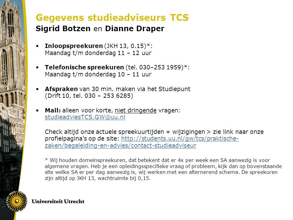 Gegevens studieadviseurs TCS Sigrid Botzen en Dianne Draper Inloopspreekuren (JKH 13, 0.15)*: Maandag t/m donderdag 11 – 12 uur Telefonische spreekuren (tel.