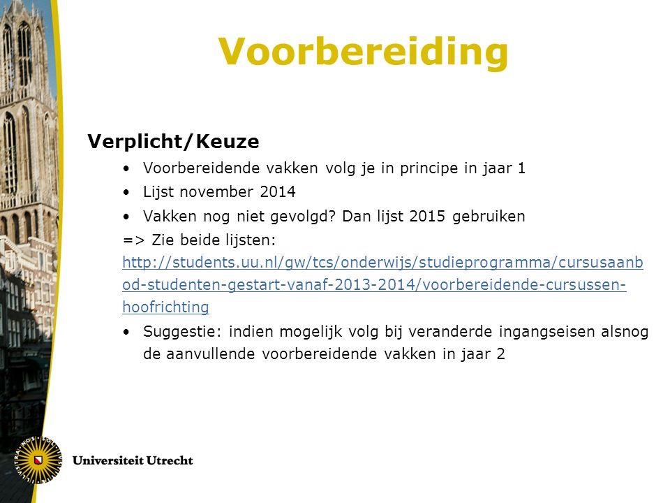 Voorbereiding Verplicht/Keuze Voorbereidende vakken volg je in principe in jaar 1 Lijst november 2014 Vakken nog niet gevolgd.