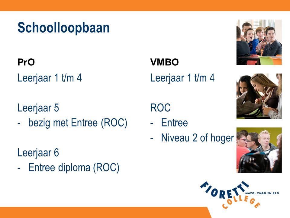 Schoolloopbaan PrO Leerjaar 1 t/m 4 Leerjaar 5 -bezig met Entree (ROC) Leerjaar 6 -Entree diploma (ROC) VMBO Leerjaar 1 t/m 4 ROC -Entree -Niveau 2 of hoger