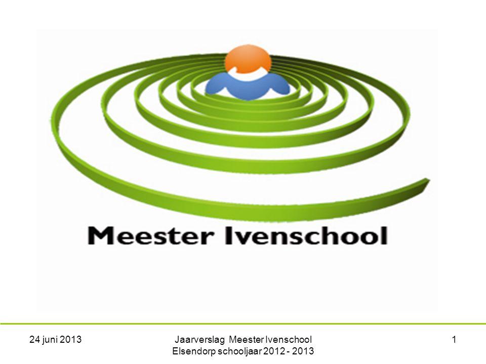 24 juni 2013Jaarverslag Meester Ivenschool Elsendorp schooljaar 2012 - 2013 1