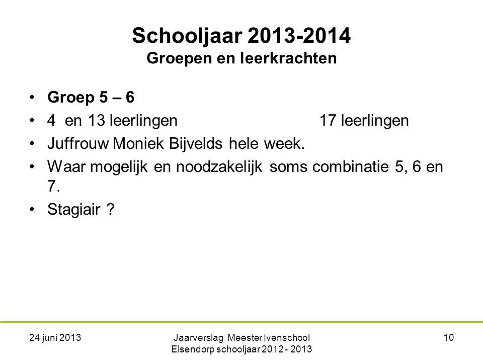 Schooljaar 2013-2014 Groepen en leerkrachten Groep 5 – 6 4 en 13 leerlingen17 leerlingen Juffrouw Moniek Bijvelds hele week.