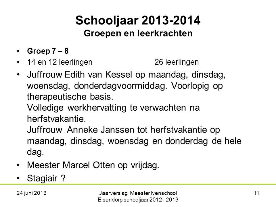 Schooljaar 2013-2014 Groepen en leerkrachten Groep 7 – 8 14 en 12 leerlingen26 leerlingen Juffrouw Edith van Kessel op maandag, dinsdag, woensdag, donderdagvoormiddag.