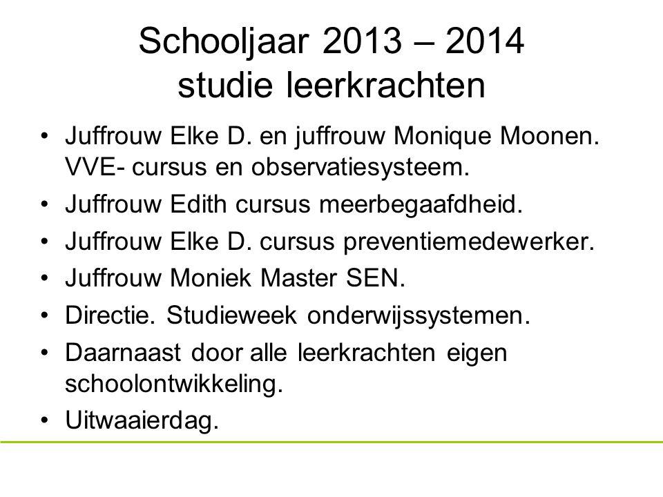 Schooljaar 2013 – 2014 studie leerkrachten Juffrouw Elke D.