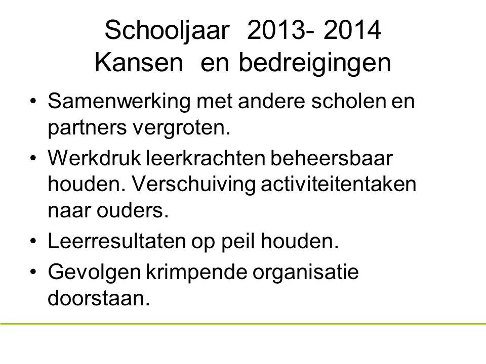 Schooljaar 2013- 2014 Kansen en bedreigingen Samenwerking met andere scholen en partners vergroten.
