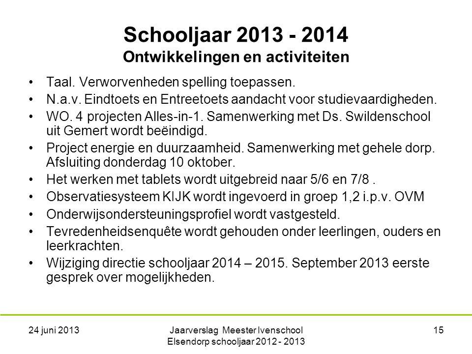 24 juni 2013Jaarverslag Meester Ivenschool Elsendorp schooljaar 2012 - 2013 15 Schooljaar 2013 - 2014 Ontwikkelingen en activiteiten Taal.