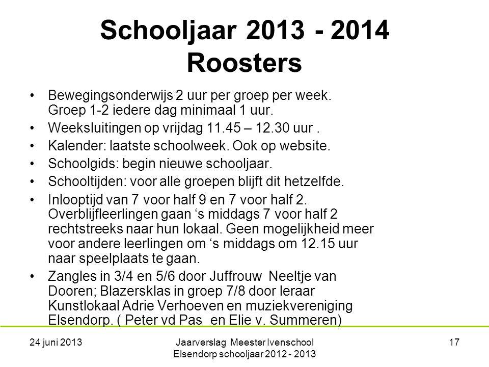 24 juni 2013Jaarverslag Meester Ivenschool Elsendorp schooljaar 2012 - 2013 17 Bewegingsonderwijs 2 uur per groep per week.