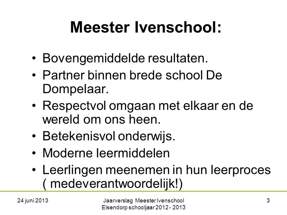 24 juni 2013Jaarverslag Meester Ivenschool Elsendorp schooljaar 2012 - 2013 3 Bovengemiddelde resultaten.