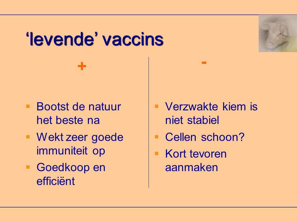 'levende' vaccins  Bootst de natuur het beste na  Wekt zeer goede immuniteit op  Goedkoop en efficiënt  Verzwakte kiem is niet stabiel  Cellen schoon.